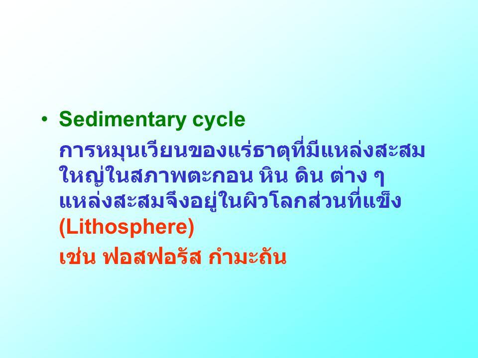 •Sedimentary cycle การหมุนเวียนของแร่ธาตุที่มีแหล่งสะสม ใหญ่ในสภาพตะกอน หิน ดิน ต่าง ๆ แหล่งสะสมจึงอยู่ในผิวโลกส่วนที่แข็ง (Lithosphere) เช่น ฟอสฟอรัส