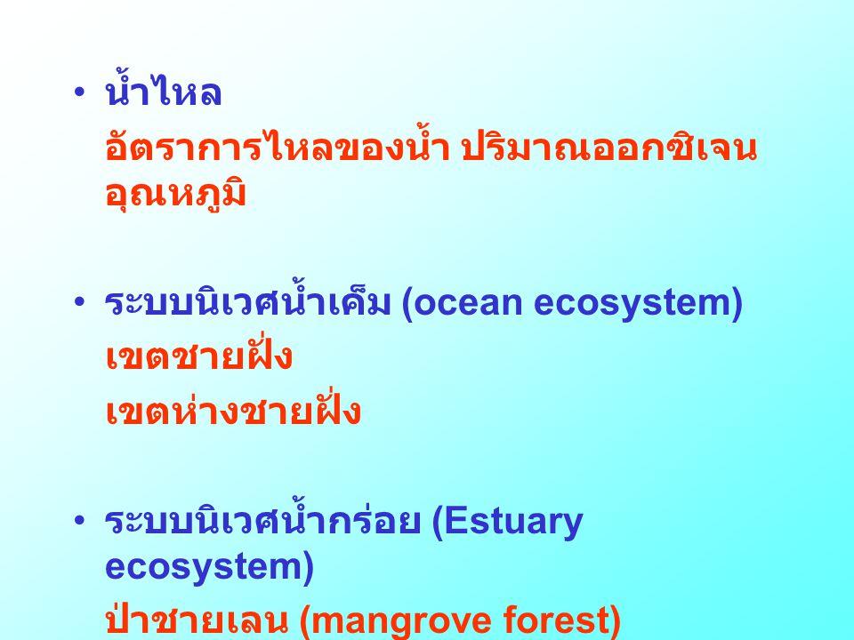 • น้ำไหล อัตราการไหลของน้ำ ปริมาณออกซิเจน อุณหภูมิ • ระบบนิเวศน้ำเค็ม (ocean ecosystem) เขตชายฝั่ง เขตห่างชายฝั่ง • ระบบนิเวศน้ำกร่อย (Estuary ecosyst