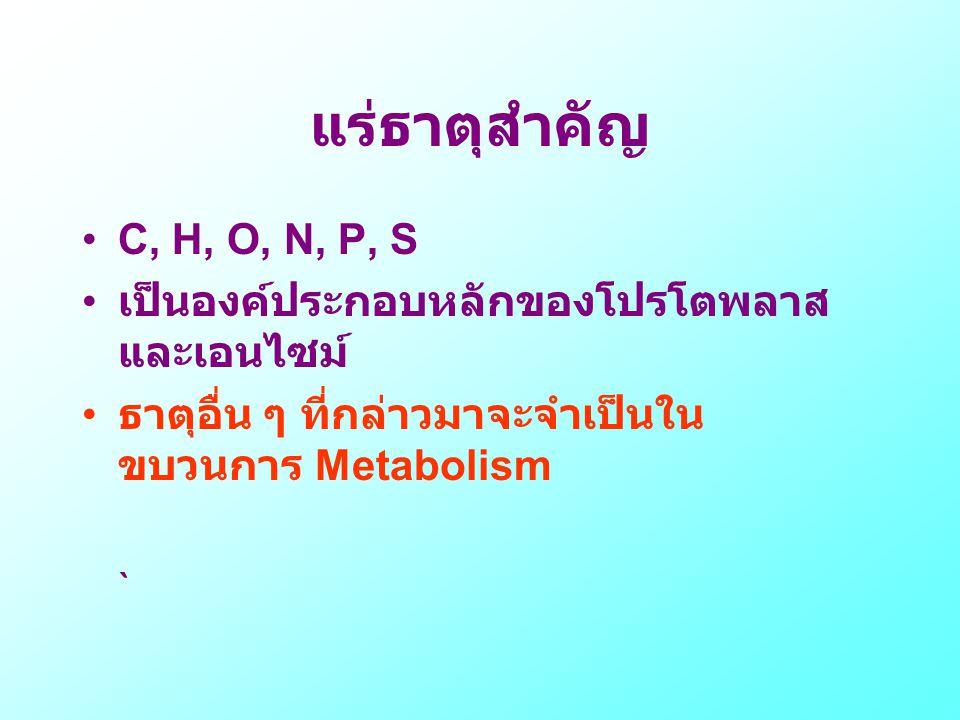 แร่ธาตุสำคัญ •C, H, O, N, P, S • เป็นองค์ประกอบหลักของโปรโตพลาส และเอนไซม์ • ธาตุอื่น ๆ ที่กล่าวมาจะจำเป็นใน ขบวนการ Metabolism `