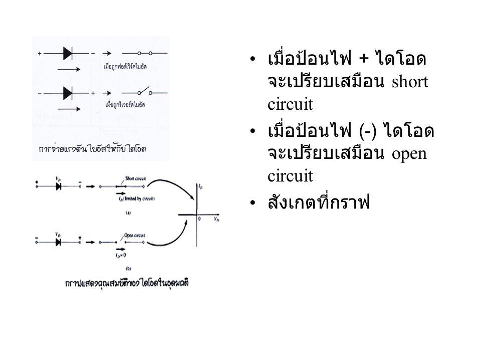 • เมื่อป้อนไฟ + ไดโอด จะเปรียบเสมือน short circuit • เมื่อป้อนไฟ (-) ไดโอด จะเปรียบเสมือน open circuit • สังเกตที่กราฟ