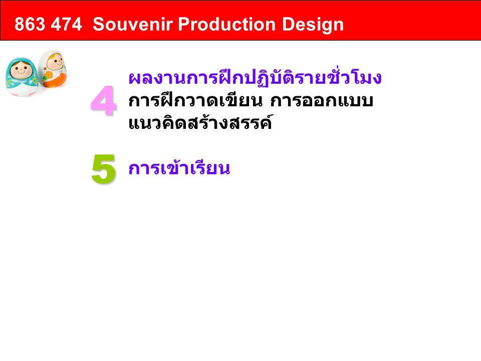 863 474 Souvenir Production Design ผลงานการฝึกปฏิบัติรายชั่วโมง การฝึกวาดเขียน การออกแบบ แนวคิดสร้างสรรค์ 4 การเข้าเรียน 5 การส่งงาน 6