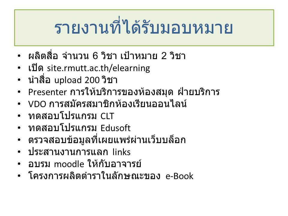• ผลิตสื่อ จำนวน 6 วิชา เป้าหมาย 2 วิชา • เปิด site.rmutt.ac.th/elearning • นำสื่อ upload 200 วิชา • Presenter การให้บริการของห้องสมุด ฝ่ายบริการ • VD