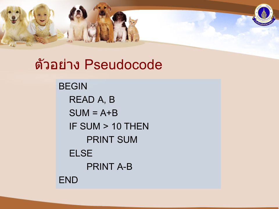 ตัวอย่าง Pseudocode BEGIN READ A, B SUM = A+B IF SUM > 10 THEN PRINT SUM ELSE PRINT A-B END