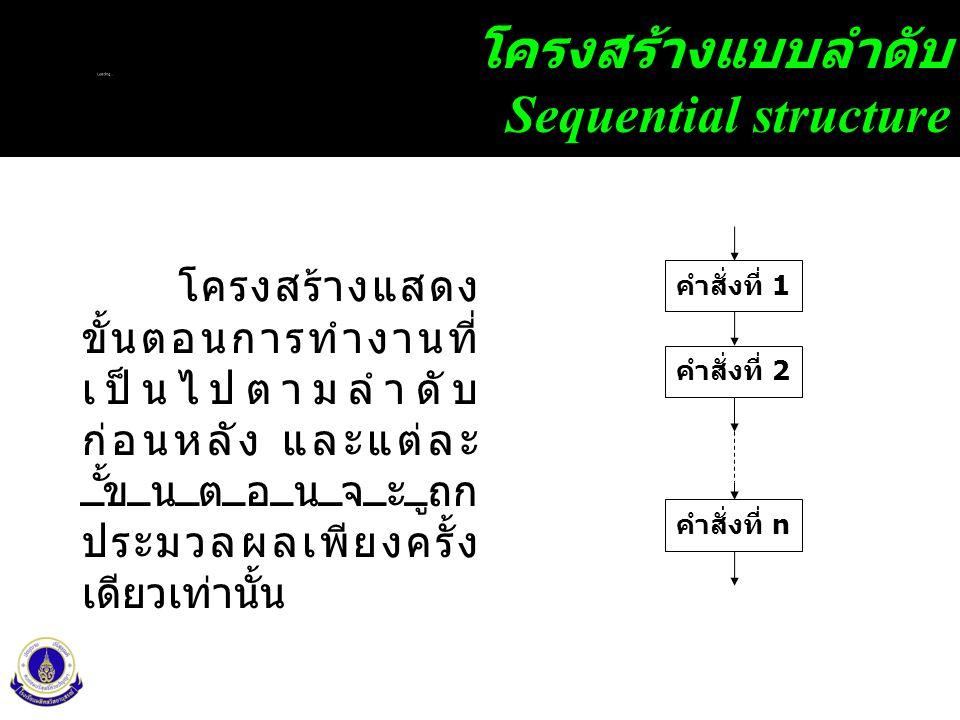 10 โครงสร้างแบบลำดับ Sequential structure คำสั่งที่ 1 คำสั่งที่ 2 คำสั่งที่ n โครงสร้างแสดง ขั้นตอนการทำงานที่ เป็นไปตามลำดับ ก่อนหลัง และแต่ละ ขั้นตอนจะถูก ประมวลผลเพียงครั้ง เดียวเท่านั้น