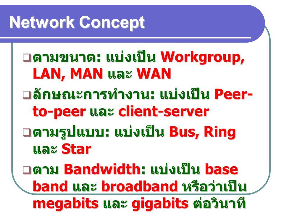 Network Concept  ตามขนาด : แบ่งเป็น Workgroup, LAN, MAN และ WAN  ลักษณะการทำงาน : แบ่งเป็น Peer- to-peer และ client-server  ตามรูปแบบ : แบ่งเป็น Bu