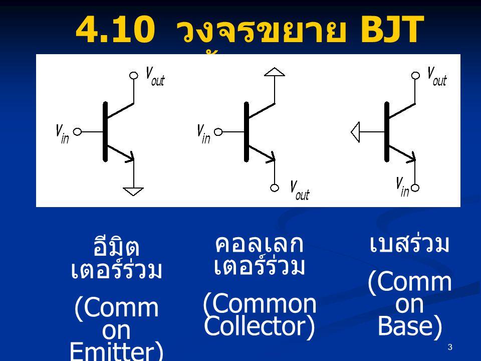 3 4.10 วงจรขยาย BJT พื้นฐาน อีมิต เตอร์ร่วม (Comm on Emitter) คอลเลก เตอร์ร่วม (Common Collector) เบสร่วม (Comm on Base)