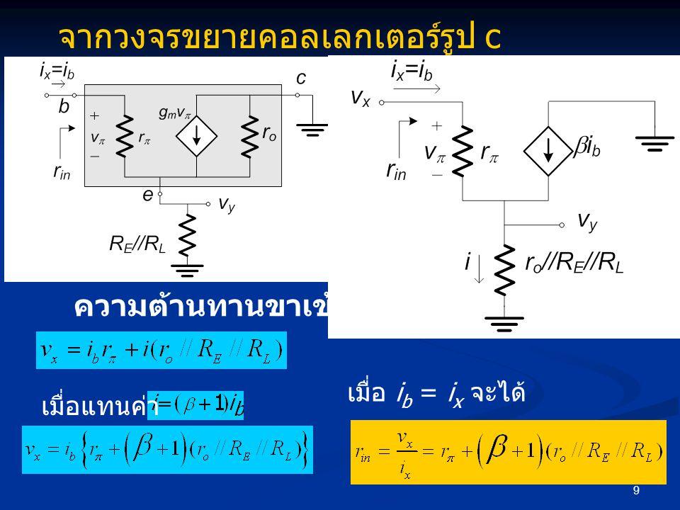 9 จากวงจรขยายคอลเลกเตอร์รูป c ความต้านทานขาเข้า เมื่อแทนค่า เมื่อ i b = i x จะได้