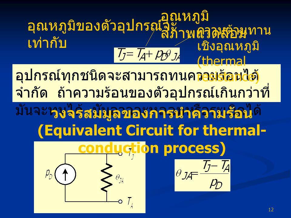 12 อุปกรณ์ทุกชนิดจะสามารถทนความร้อนได้ จำกัด ถ้าความร้อนของตัวอุปกรณ์เกินกว่าที่ มันจะทนได้ มันอาจจะหลอมหรือระเบิดได้ ความต้านทาน เชิงอุณหภูมิ (thermal resistance) วงจรสมมูลของการนำความร้อน (Equivalent Circuit for thermal- conduction process) อุณหภูมิของตัวอุปกรณ์จะ เท่ากับ อุณหภูมิ สภาพแวดล้อม