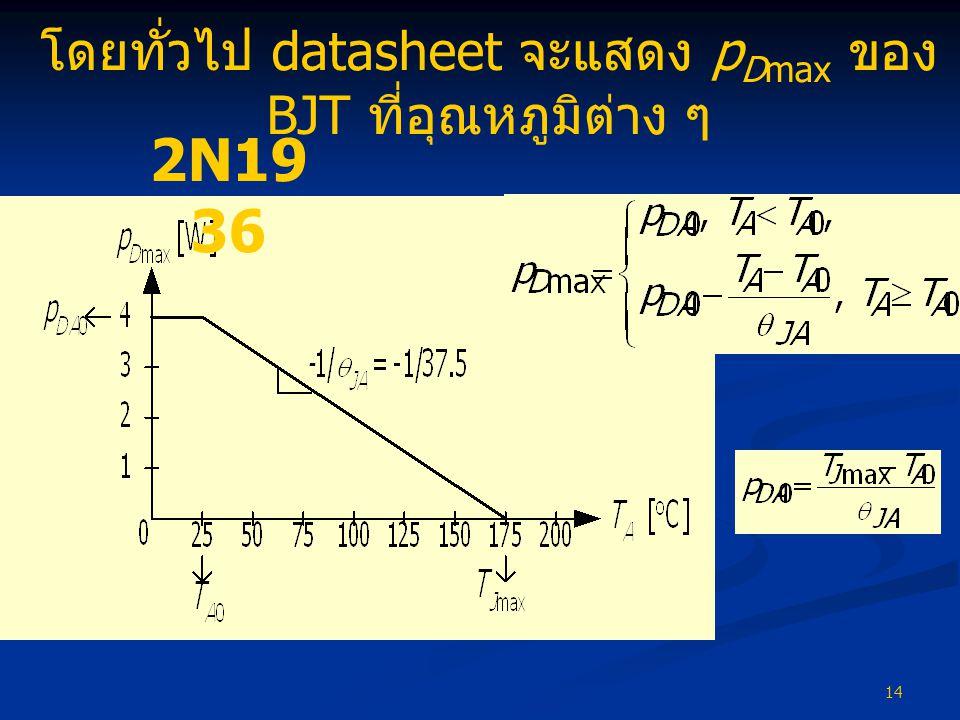 14 โดยทั่วไป datasheet จะแสดง p Dmax ของ BJT ที่อุณหภูมิต่าง ๆ 2N19 36