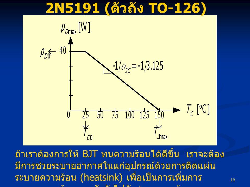 16 2N5191 ( ตัวถัง TO-126) ถ้าเราต้องการให้ BJT ทนความร้อนได้ดีขึ้น เราจะต้อง มีการช่วยระบายอากาศในแก่อุปกรณ์ด้วยการติดแผ่น ระบายความร้อน (heatsink) เพื่อเป็นการเพิ่มการ ระบายความร้อนจากตัวถังไปยังสภาพแวดล้อม