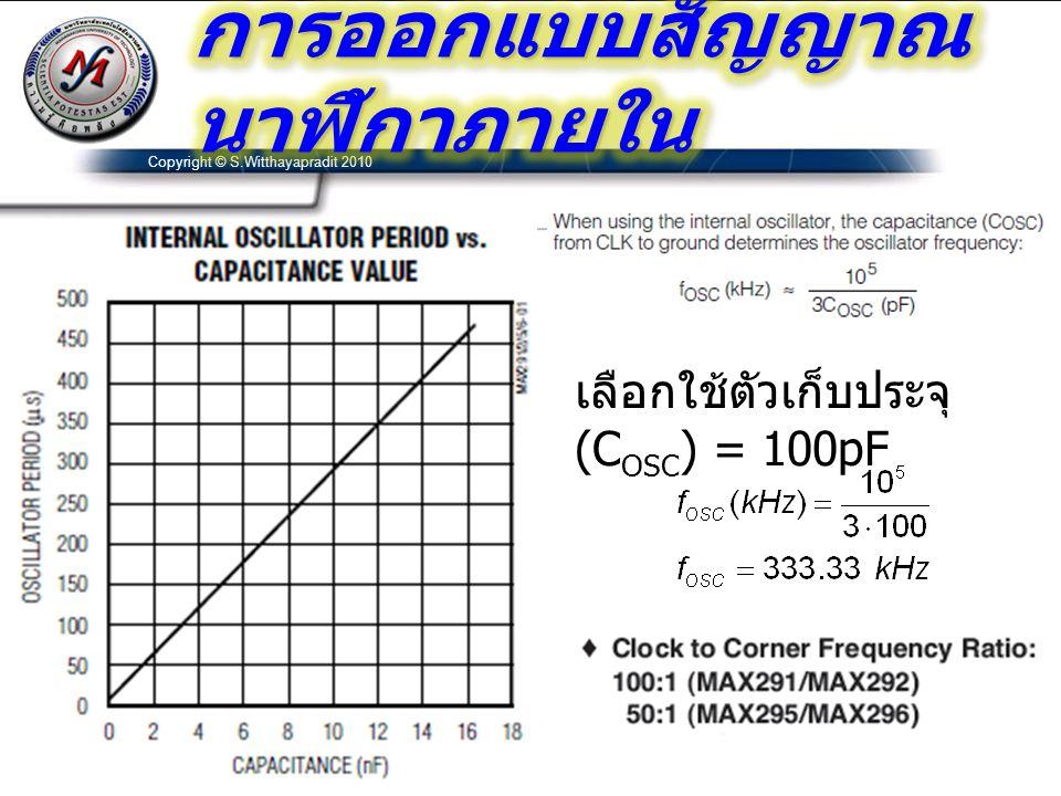 เลือกใช้ตัวเก็บประจุ (C OSC ) = 100pF