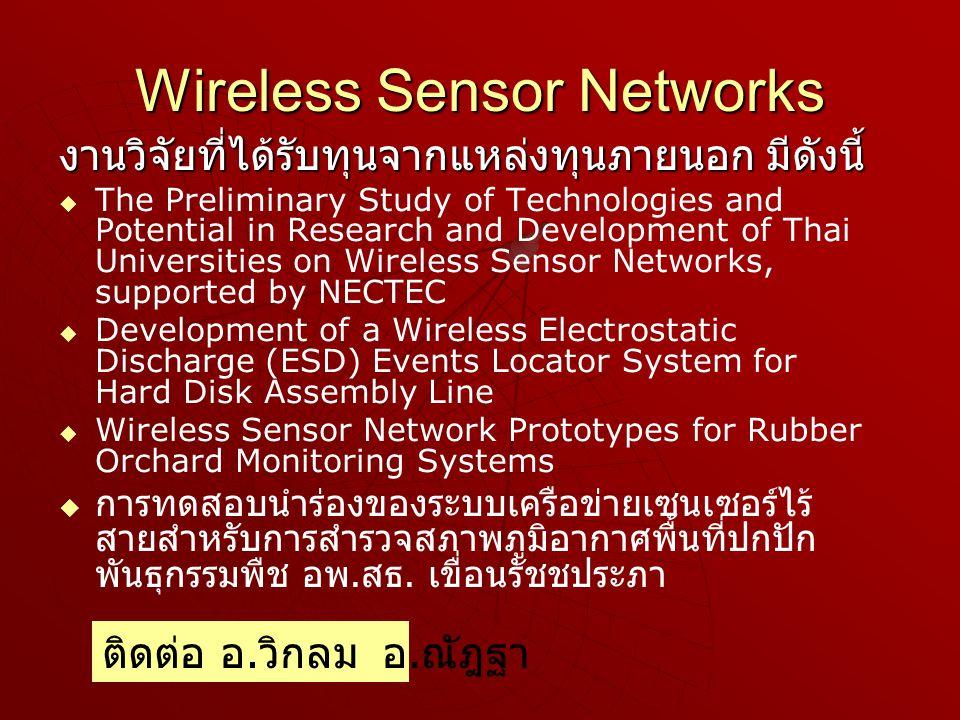 Wireless Sensor Networks งานวิจัยที่ได้รับทุนจากแหล่งทุนภายนอก มีดังนี้   The Preliminary Study of Technologies and Potential in Research and Development of Thai Universities on Wireless Sensor Networks, supported by NECTEC   Development of a Wireless Electrostatic Discharge (ESD) Events Locator System for Hard Disk Assembly Line   Wireless Sensor Network Prototypes for Rubber Orchard Monitoring Systems   การทดสอบนำร่องของระบบเครือข่ายเซนเซอร์ไร้ สายสำหรับการสำรวจสภาพภูมิอากาศพื้นที่ปกปัก พันธุกรรมพืช อพ.