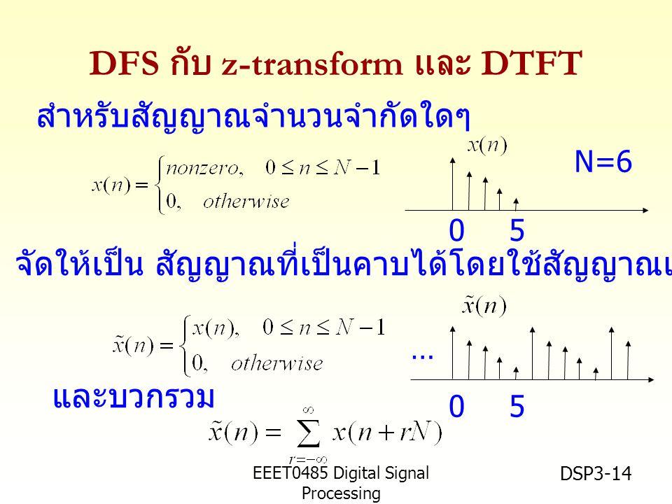 EEET0485 Digital Signal Processing Asst.Prof. Peerapol Yuvapoositanon DSP3-14 DFS กับ z-transform และ DTFT สำหรับสัญญาณจำนวนจำกัดใดๆ จัดให้เป็น สัญญาณ