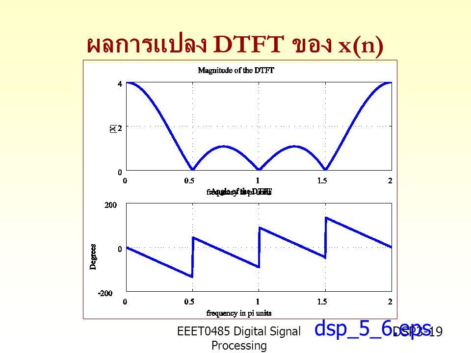 EEET0485 Digital Signal Processing Asst.Prof. Peerapol Yuvapoositanon DSP3-19 ผลการแปลง DTFT ของ x(n) dsp_5_6.eps