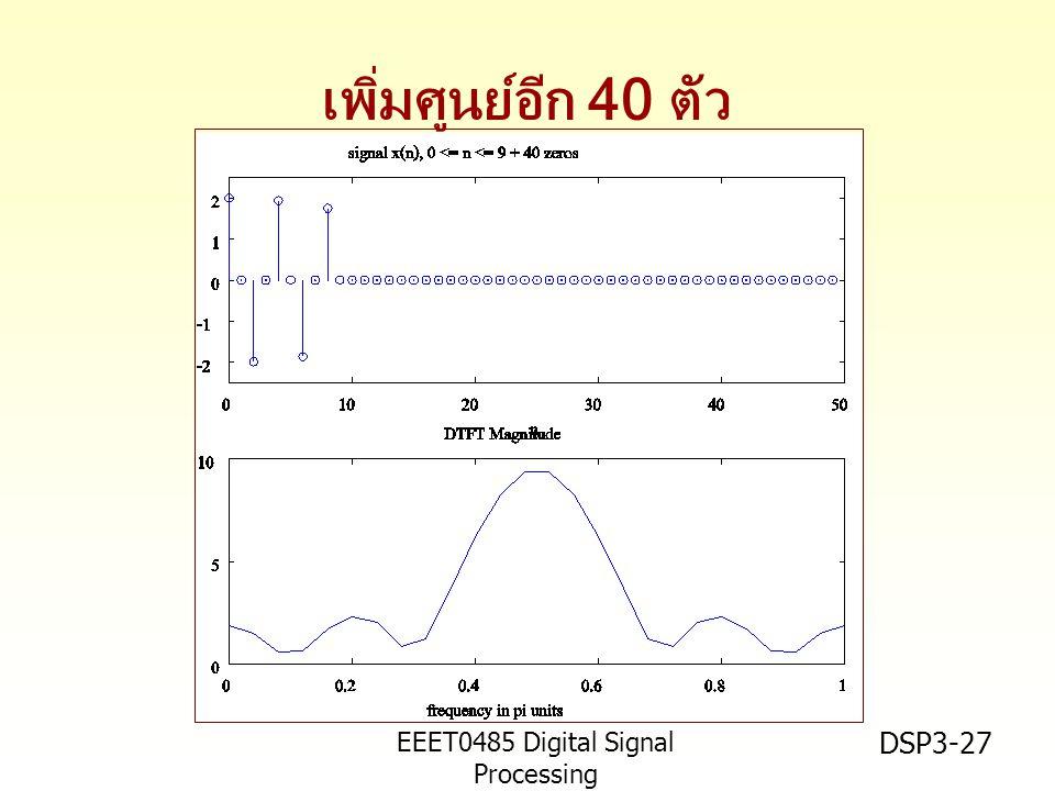 EEET0485 Digital Signal Processing Asst.Prof. Peerapol Yuvapoositanon DSP3-27 เพิ่มศูนย์อีก 40 ตัว