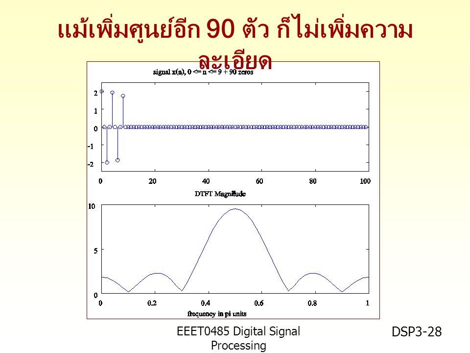 EEET0485 Digital Signal Processing Asst.Prof. Peerapol Yuvapoositanon DSP3-28 แม้เพิ่มศูนย์อีก 90 ตัว ก็ไม่เพิ่มความ ละเอียด