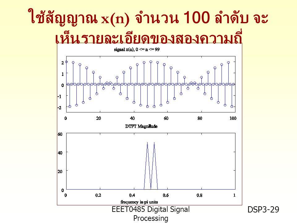 EEET0485 Digital Signal Processing Asst.Prof. Peerapol Yuvapoositanon DSP3-29 ใช้สัญญาณ x(n) จำนวน 100 ลำดับ จะ เห็นรายละเอียดของสองความถี่