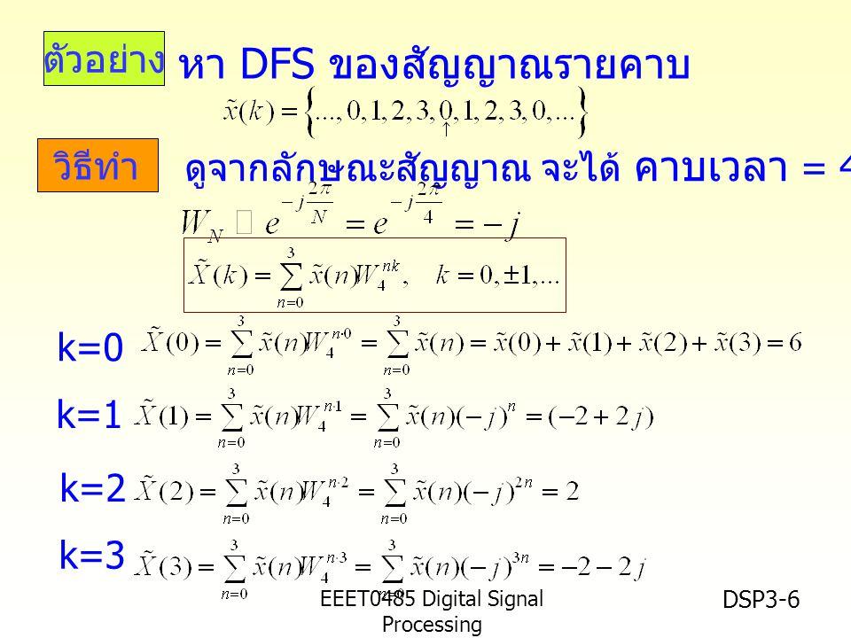 EEET0485 Digital Signal Processing Asst.Prof. Peerapol Yuvapoositanon DSP3-6 ตัวอย่าง วิธีทำ หา DFS ของสัญญาณรายคาบ ดูจากลักษณะสัญญาณ จะได้ คาบเวลา =