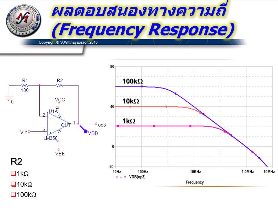 Copyright © S.Witthayapradit 2010 R1 100 U1A LM358 3 2 8 4 1 + - V+ V- OUT R2 0 op3 VDB VCC Vin VEE R2  1k   10k   100k  1k  10k  100k 
