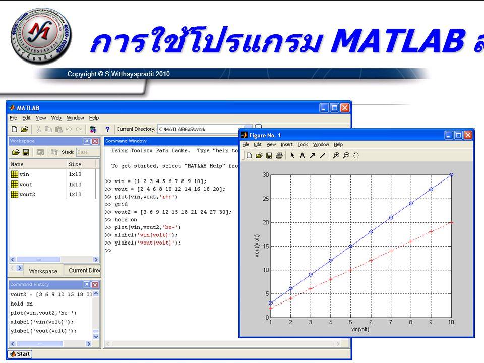 การใช้โปรแกรม MATLAB สร้างกราฟ Copyright © S.Witthayapradit 2010