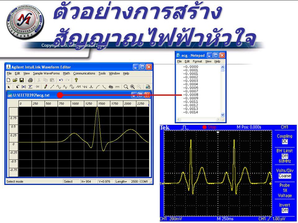 Copyright © S.Witthayapradit 2010 ตัวอย่างการสร้าง สัญญาณไฟฟ้าหัวใจ