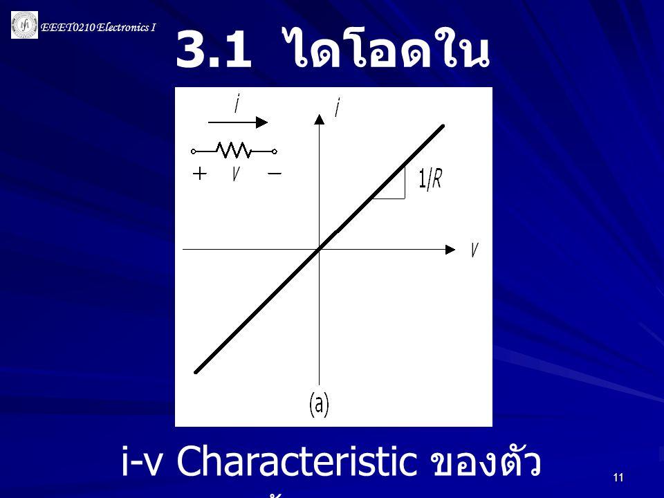 EEET0210 Electronics I 11 3.1 ไดโอดใน อุดมคติ i-v Characteristic ของตัว ต้านทาน