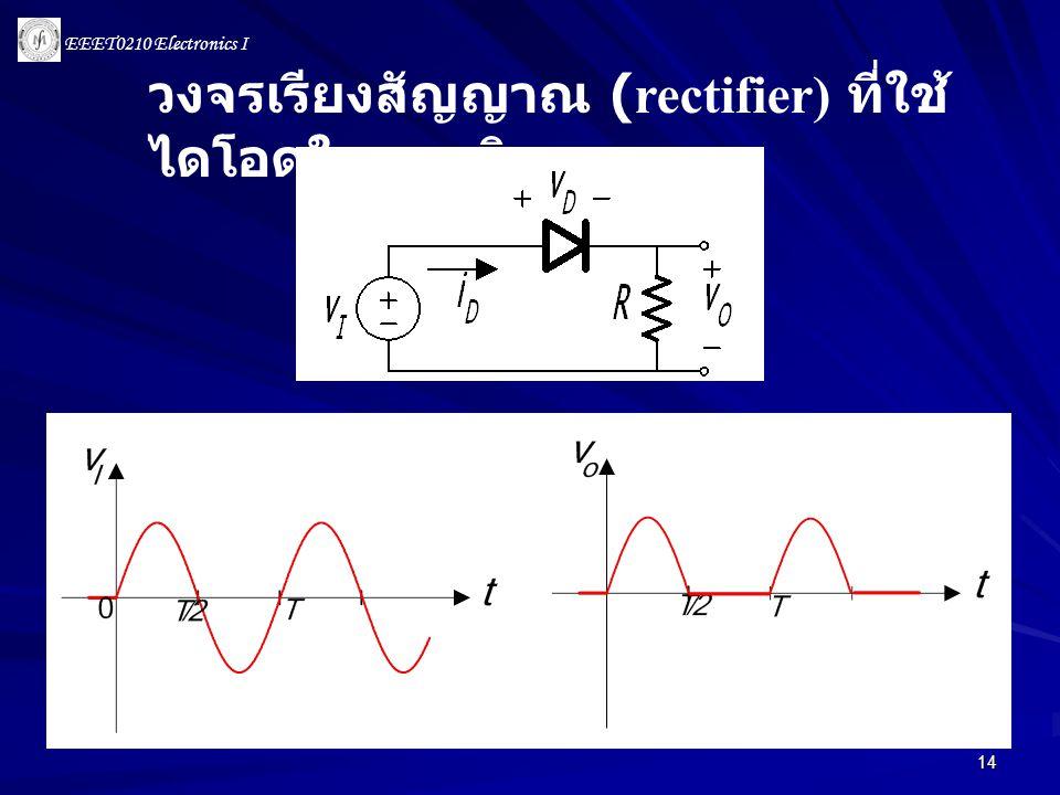 EEET0210 Electronics I 14 วงจรเรียงสัญญาณ (rectifier) ที่ใช้ ไดโอดในอุมคติ