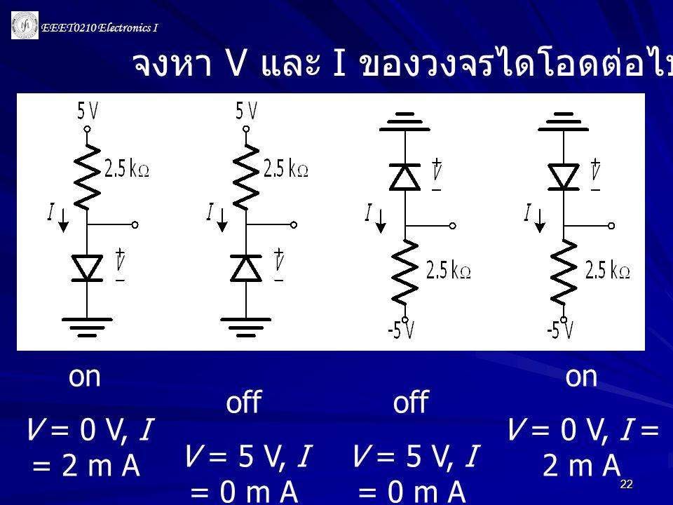 EEET0210 Electronics I 22 on V = 0 V, I = 2 m A on V = 0 V, I = 2 m A off V = 5 V, I = 0 m A off V = 5 V, I = 0 m A จงหา V และ I ของวงจรไดโอดต่อไปนี้