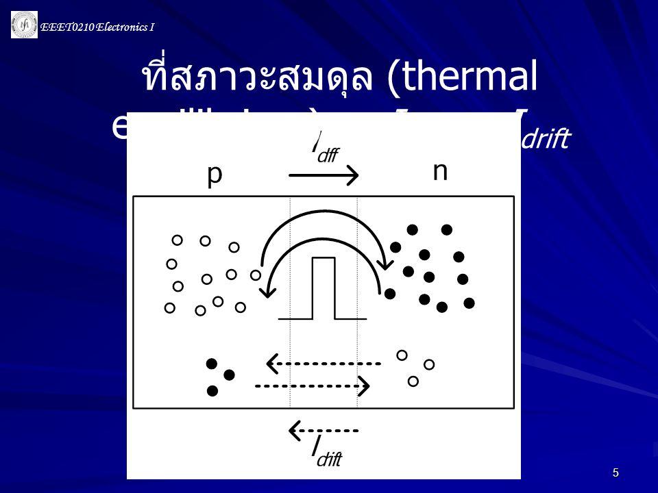 EEET0210 Electronics I 6 • การเชื่อมต่อสารกึ่งตัวนำกับโลหะเรียกว่า Ohmic Contact • การเชื่อมต่อแท่ง pn กับโลหะ จะทำให้แรงดัน ภายนอกจะมีค่าเท่ากับศูนย์ เนื่องจากแรงดัน ระหว่างรอยต่อจะถูกหักล้างโดยแรงดันที่ตก คร่อม metal contact ทั้งสองชนิดจนหมด anodecathode 0 V