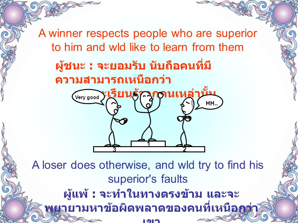A winner is responsible not just for his own work ผู้ชนะ : จะมีความรับผิดชอบ ไม่เพียงแต่งานที่ ได้รับมอบหมายเท่านั้น จะช่วยคิดให้องค์กร ประสบความสำเร็จ ( ไม่ไปก้าวก่ายงานคนอื่น ) A loser will not dare help others and wld say I m just doing my job ผู้แพ้ : จะไม่กล้าที่จะช่วยเหลือคนอื่น และ มักจะพูดว่า ฉันไม่ว่าง กำลังทำงานของฉันอยู่ I'm busy My job is 1,2,3 I have a job I can receive