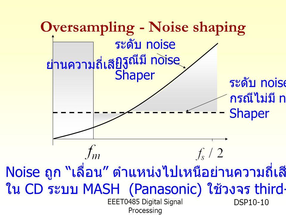 EEET0485 Digital Signal Processing Asst.Prof. Peerapol Yuvapoositanon DSP10-10 Oversampling - Noise shaping ระดับ noise กรณีไม่มี noise Shaper ระดับ n
