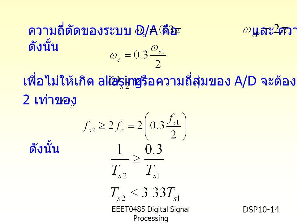 EEET0485 Digital Signal Processing Asst.Prof. Peerapol Yuvapoositanon DSP10-14 ความถี่ตัดของระบบ D/A คือ และ ความถี่สุ่ม ดังนั้น หรือความถี่สุ่มของ A/