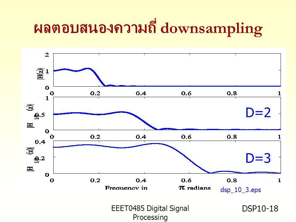 EEET0485 Digital Signal Processing Asst.Prof. Peerapol Yuvapoositanon DSP10-18 ผลตอบสนองความถี่ downsampling dsp_10_3.eps D=2 D=3