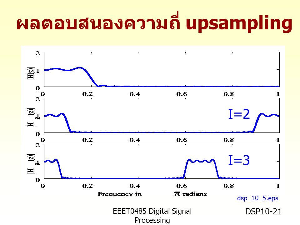 EEET0485 Digital Signal Processing Asst.Prof. Peerapol Yuvapoositanon DSP10-21 dsp_10_5.eps I=2 I=3 ผลตอบสนองความถี่ upsampling