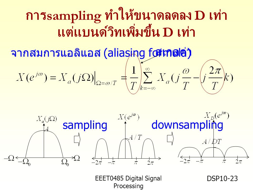EEET0485 Digital Signal Processing Asst.Prof. Peerapol Yuvapoositanon DSP10-23 การ sampling ทำให้ขนาดลดลง D เท่า แต่แบนด์วิทเพิ่มขึ้น D เท่า จากสมการแ