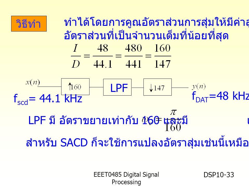 EEET0485 Digital Signal Processing Asst.Prof. Peerapol Yuvapoositanon DSP10-33 วิธีทำ LPF f scd = 44.1 kHz f DAT =48 kHz LPF มี อัตราขยายเท่ากับ 160 แ