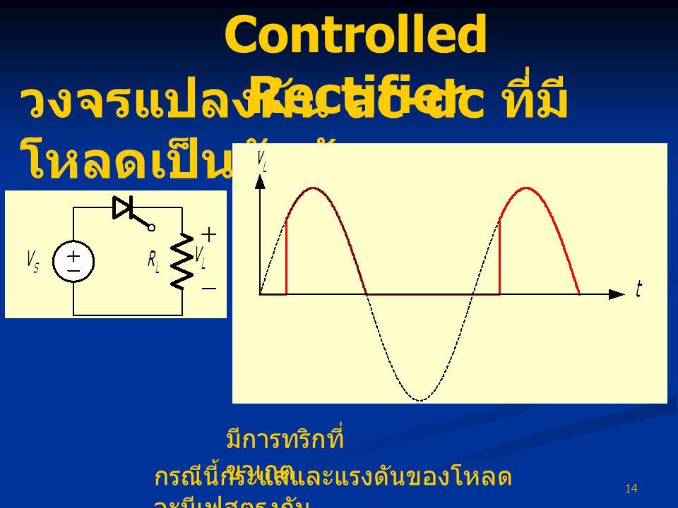 14 วงจรแปลงผัน ac-dc ที่มี โหลดเป็นตัวต้านทาน มีการทริกที่ ขาเกต กรณีนี้กระแสและแรงดันของโหลด จะมีเฟสตรงกัน Controlled Rectifier