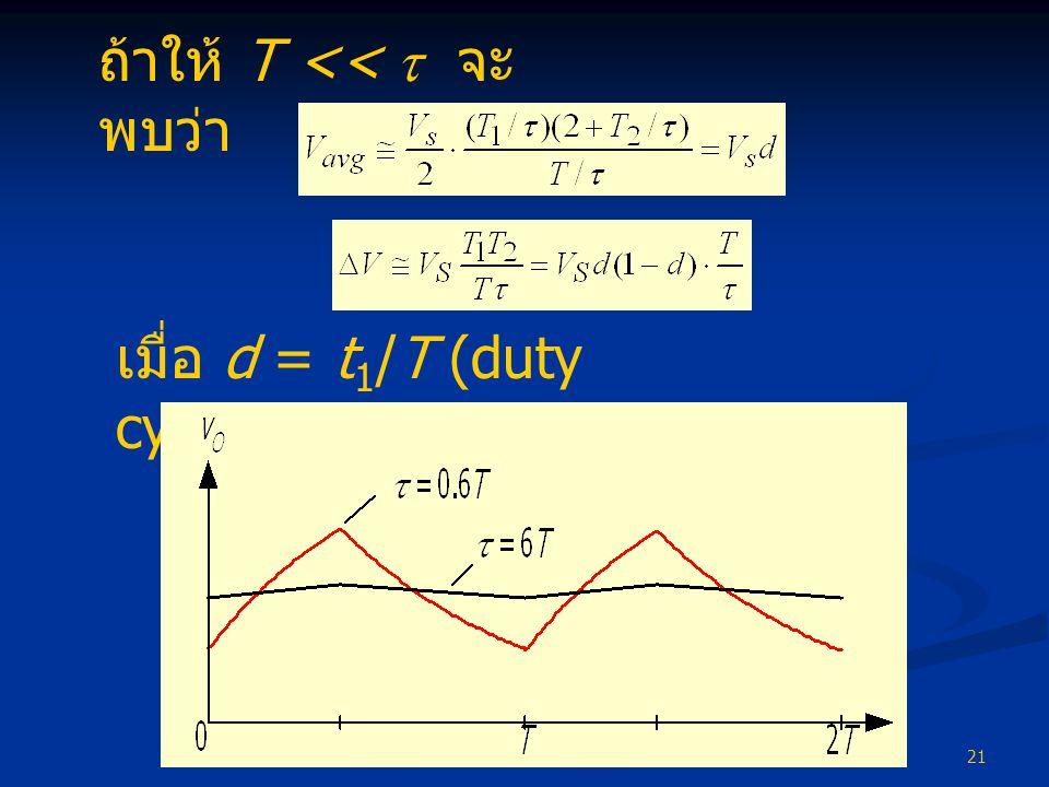 21 เมื่อ d = t 1 /T (duty cycle) ถ้าให้ T <<  จะ พบว่า