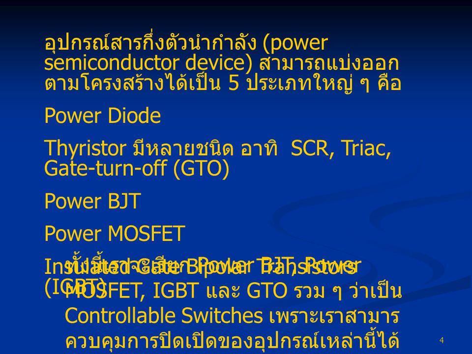 4 อุปกรณ์สารกึ่งตัวนำกำลัง (power semiconductor device) สามารถแบ่งออก ตามโครงสร้างได้เป็น 5 ประเภทใหญ่ ๆ คือ Power Diode Thyristor มีหลายชนิด อาทิ SCR