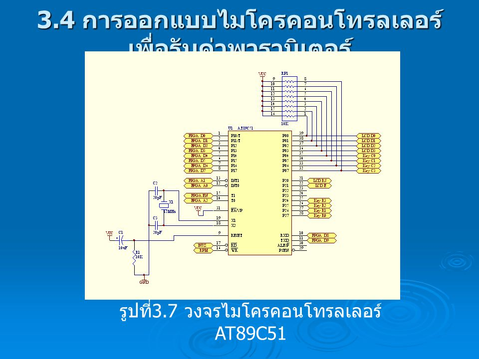 3.4 การออกแบบไมโครคอนโทรลเลอร์ เพื่อรับค่าพารามิเตอร์ รูปที่ 3.7 วงจรไมโครคอนโทรลเลอร์ AT89C51
