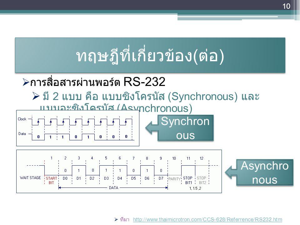 ทฤษฎีที่เกี่ยวข้อง ( ต่อ )  การสื่อสารผ่านพอร์ต RS-232  มี 2 แบบ คือ แบบซิงโครนัส (Synchronous) และ แบบอะซิงโครนัส (Asynchronous)  ทีมา http://www.