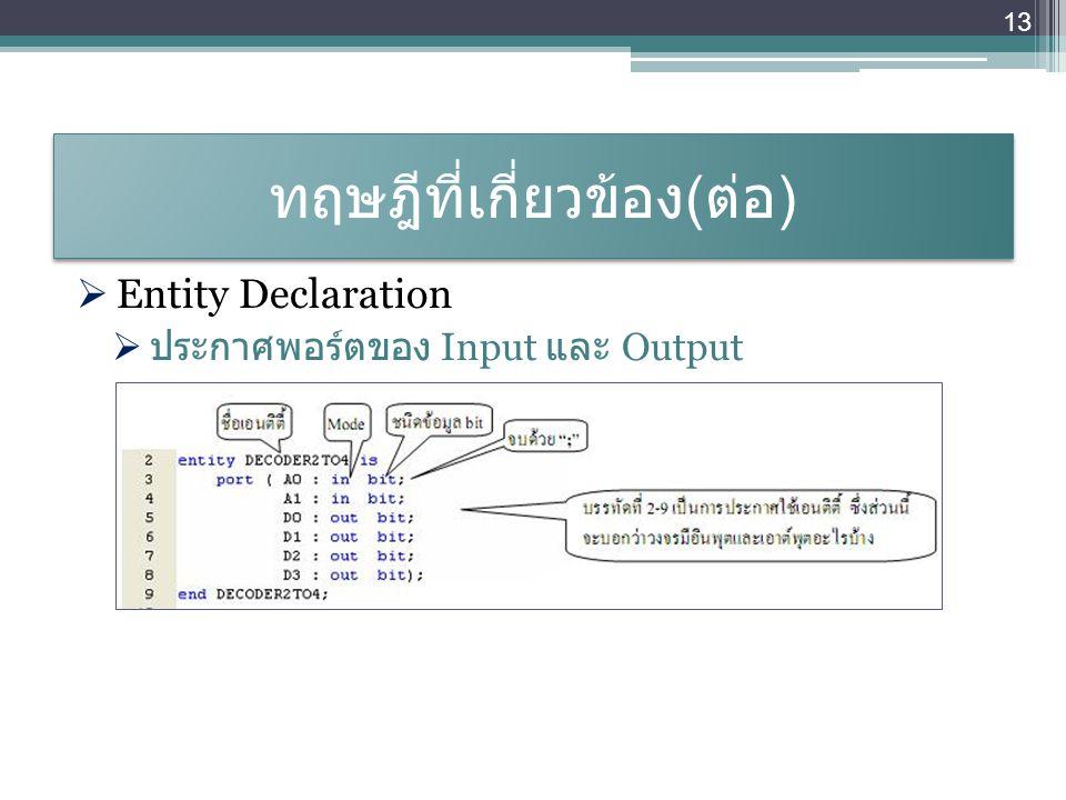 ทฤษฎีที่เกี่ยวข้อง ( ต่อ )  Entity Declaration  ประกาศพอร์ตของ Input และ Output 13