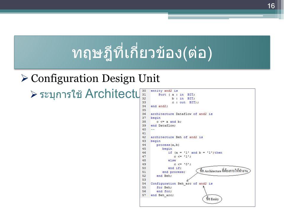 ทฤษฎีที่เกี่ยวข้อง ( ต่อ )  Configuration Design Unit  ระบุการใช้ Architecture 16