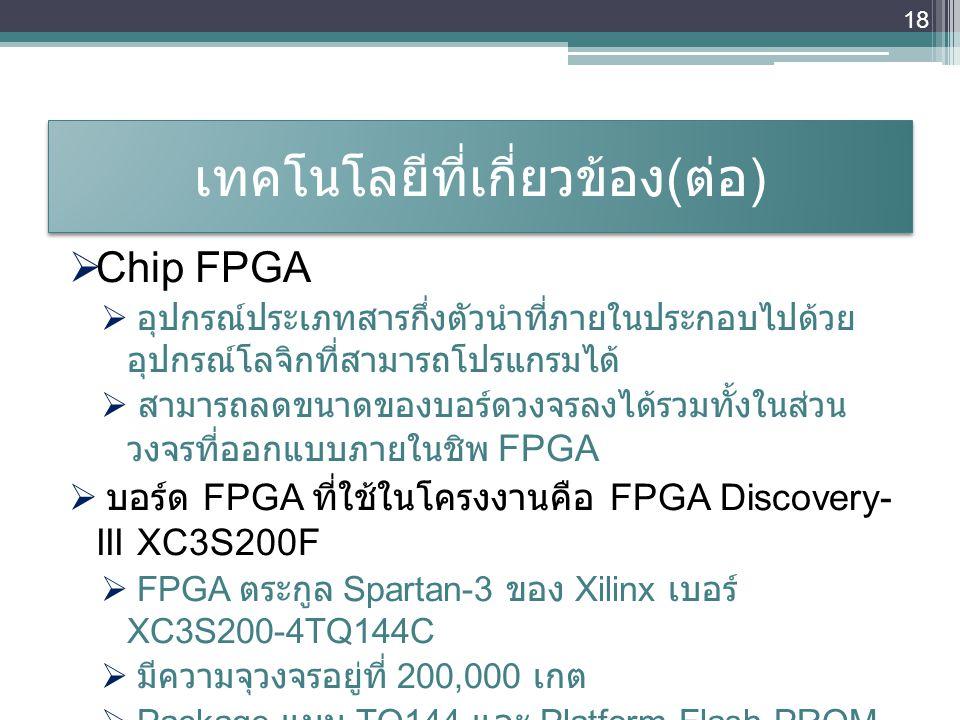 เทคโนโลยีที่เกี่ยวข้อง ( ต่อ )  Chip FPGA  อุปกรณ์ประเภทสารกึ่งตัวนำที่ภายในประกอบไปด้วย อุปกรณ์โลจิกที่สามารถโปรแกรมได้  สามารถลดขนาดของบอร์ดวงจรล