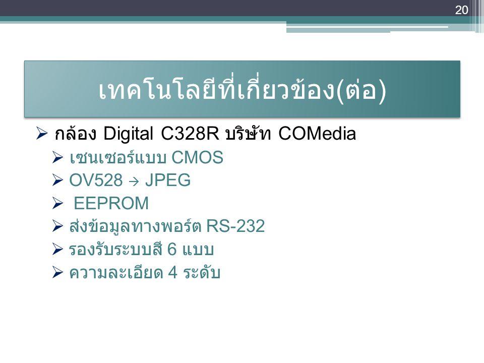 เทคโนโลยีที่เกี่ยวข้อง ( ต่อ )  กล้อง Digital C328R บริษัท COMedia  เซนเซอร์แบบ CMOS  OV528  JPEG  EEPROM  ส่งข้อมูลทางพอร์ต RS-232  รองรับระบบ