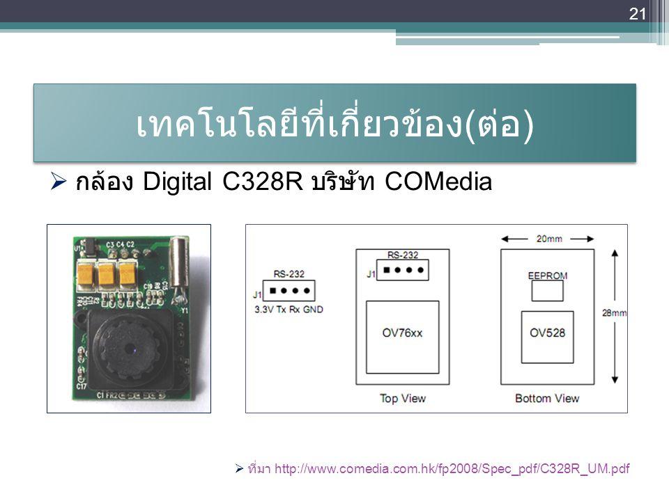 เทคโนโลยีที่เกี่ยวข้อง ( ต่อ )  กล้อง Digital C328R บริษัท COMedia  ที่มา http://www.comedia.com.hk/fp2008/Spec_pdf/C328R_UM.pdf 21