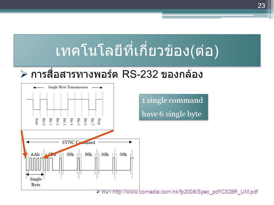เทคโนโลยีที่เกี่ยวข้อง ( ต่อ )  การสื่อสารทางพอร์ต RS-232 ของกล้อง  ที่มา http://www.comedia.com.hk/fp2008/Spec_pdf/C328R_UM.pdf 23 1 single command