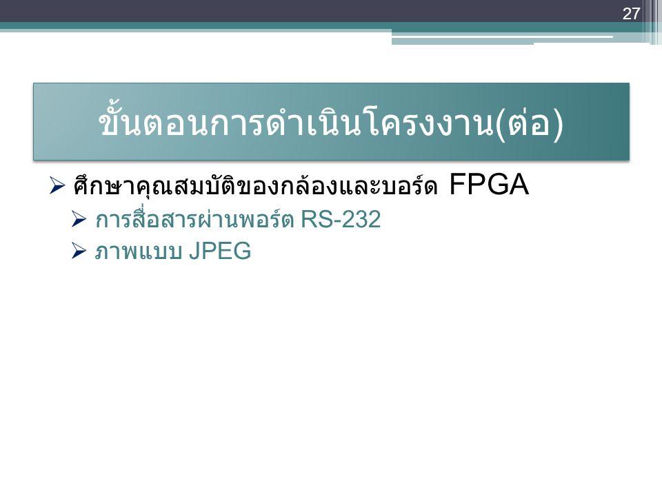 ขั้นตอนการดำเนินโครงงาน ( ต่อ )  ศึกษาคุณสมบัติของกล้องและบอร์ด FPGA  การสื่อสารผ่านพอร์ต RS-232  ภาพแบบ JPEG 27
