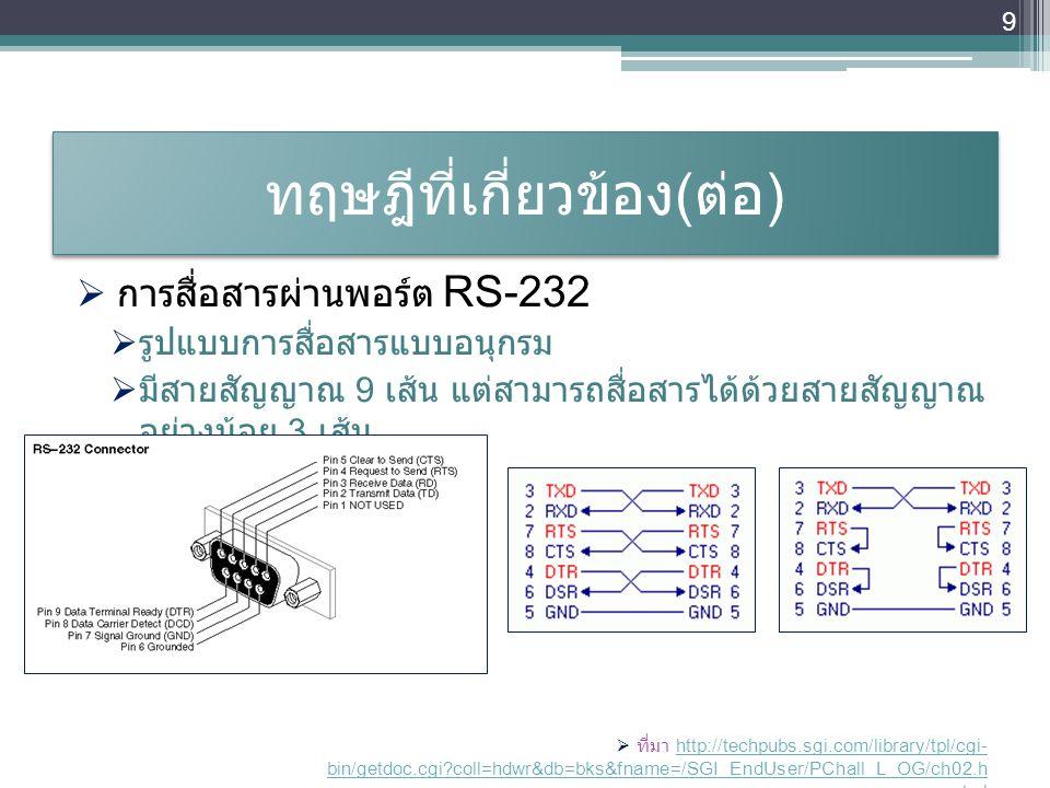 ทฤษฎีที่เกี่ยวข้อง ( ต่อ )  การสื่อสารผ่านพอร์ต RS-232  รูปแบบการสื่อสารแบบอนุกรม  มีสายสัญญาณ 9 เส้น แต่สามารถสื่อสารได้ด้วยสายสัญญาณ อย่างน้อย 3