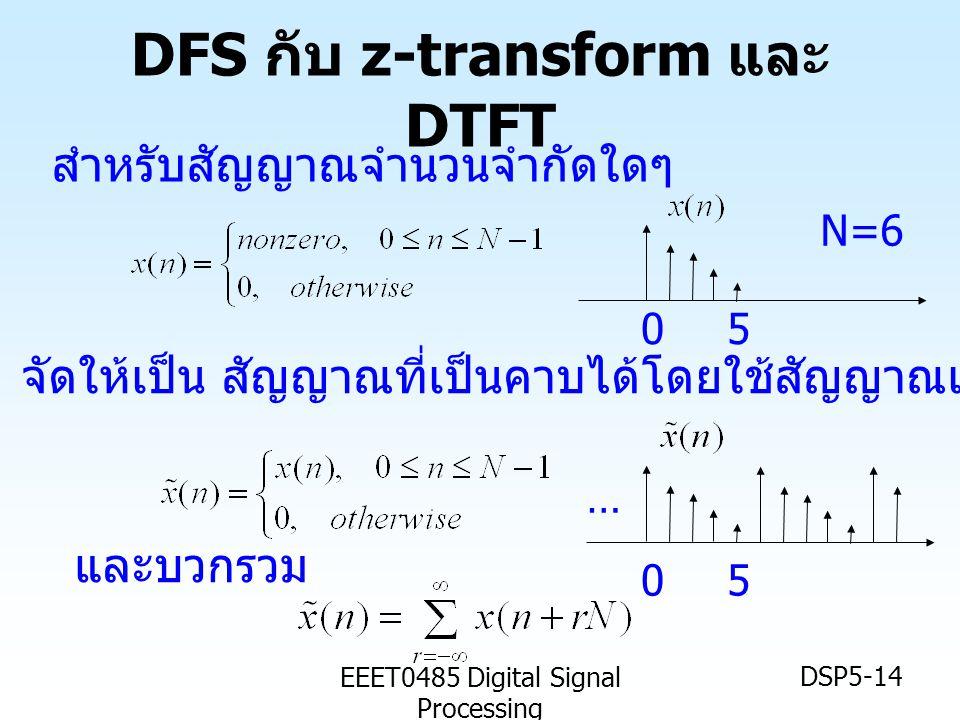 EEET0485 Digital Signal Processing DSP5-14 DFS กับ z-transform และ DTFT สำหรับสัญญาณจำนวนจำกัดใดๆ จัดให้เป็น สัญญาณที่เป็นคาบได้โดยใช้สัญญาณเฉพาะ n =
